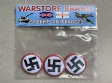 WWII REGULAR SWASTIKA - BUTTON BADGE PACK OF 3